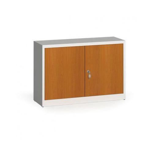 Szafy spawane z laminowanymi drzwiami, 800 x 1200 x 400 mm, RAL 7035/czereśnia