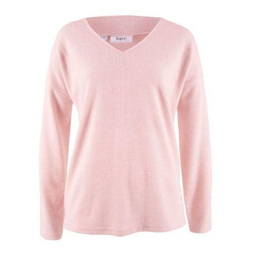 Sweter z polaru z dekoltem w serek pastelowy jasnoróżowy melanż, Bonprix, 32-50