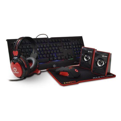 Hiro Zestaw gamingowy 5 w 1 destro (klawiatura, mysz, słuchawki, podkładka, głośniki)