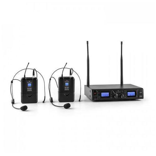 Duett Pro V2 2-kanałowy bezprzewodowy zestaw mikrofonowy UHF zasięg 50m