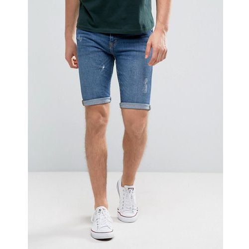 New Look Skinny Fit Denim Shorts With Abrasions In Mid Wash - Blue
