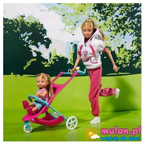 SIMBA Lalka STEFFI LOVE Sportowa mama + Evi w wózku 3lata+ 5733076 - oferta [150cd54273dfd38c]