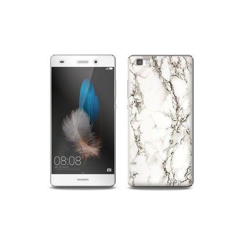 Huawei P8 Lite - etui na telefon Full Body Slim Fantastic - biały marmur, kolor biały