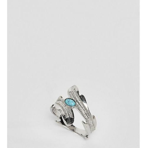 ASOS DESIGN Curve exclusive wrap around ring with stone and leaf detail in silver - Silver