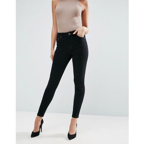 ASOS Ridley High Waist Skinny Jeans in Clean Black - Black, kolor czarny