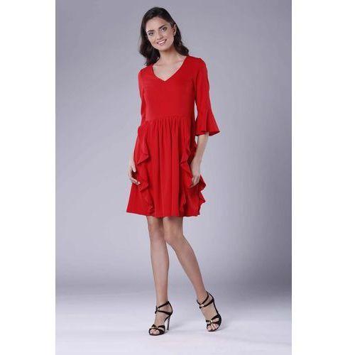 5e033f49d1 Nommo Czerwona wizytowa rozkloszowana sukienka z falbankami 191