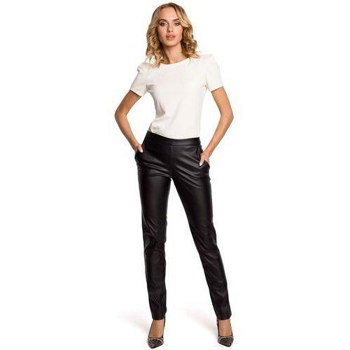 Czarne eleganckie spodnie rurki z eko-skóry, Moe, 36-42