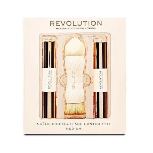 Makeup revolution london crème highlight and contour kit zestaw sztyft do konturowania 3,5 g + rozświetlacz 3,5 g + gąbka i pędzel 2w1 1 szt w medium (5057566012218)