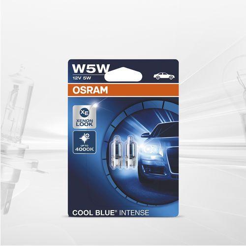 Osram 12 V lampy reflektorowe, oryginalne W5W, składane pudełko, Cool Blue Intense, podwójny blister, niebieski