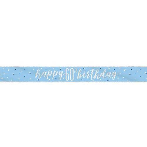 Baner Happy Birthday niebieski na 60 urodziny - 274 cm - 1 szt.