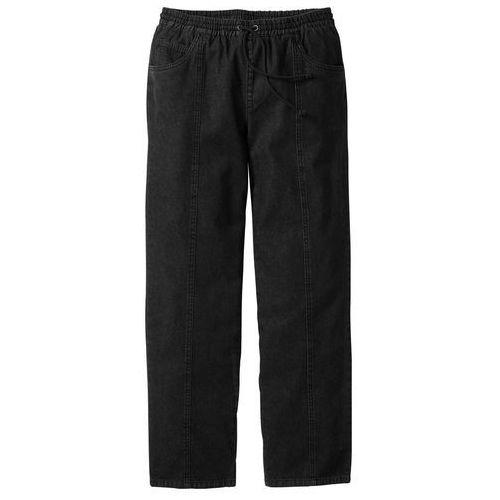 Spodnie z gumką w talii Classic Fit bonprix czarny, bawełna