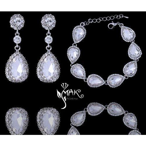 Kpl 656/11 komplet, biżuteria ślubna cyrkonie duże kolczyki marki Mak-biżuteria