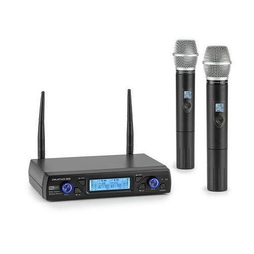 uhf200c-2h, 2-kanałowy bezprzewodowy zestaw mikrofonowy uhf, odbiornik, 2 mikrofony ręczne, czarny marki Auna pro