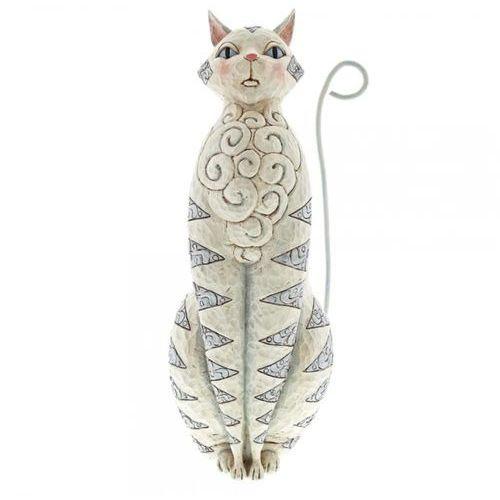 Biały duży kot 47 cm white cat garden statue 6001603 kotek vintage biały marki Jim shore