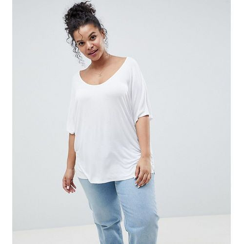 Asos curve Asos design curve t-shirt with drapey batwing sleeve in white - white