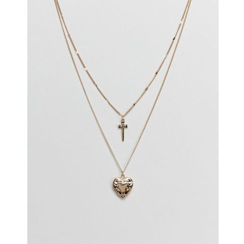 Asos design vintage style dagger and heart locket pendant multirow necklace - gold