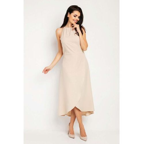 0994600aab Beżowa Wyjściowa Sukienka Asymetryczna z Wiązanym Dekoltem