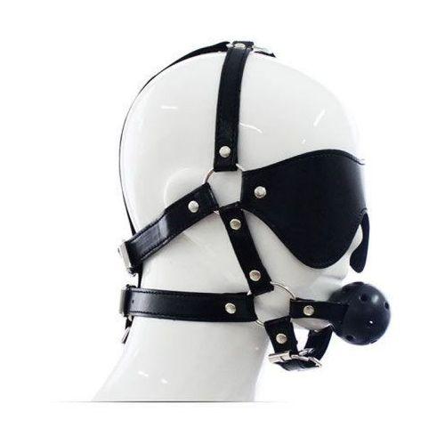 Imbracatura per viso con maschera per occhi e morso total head harness restraint black marki Toyz4lovers