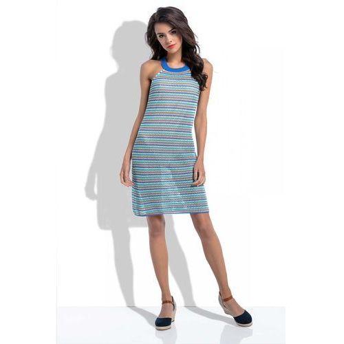 86eafac28d Lazurowa Krótka Kolorowa Sukienka Ażurowa bez Rękawów