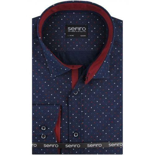 Koszula męska granatowa w kropki slim fit na spinki lub guzik a115 marki Sefiro