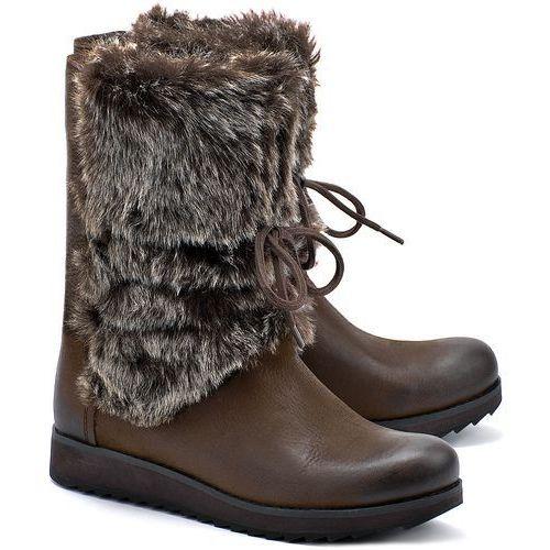 Minx Jeanie - Khaki Skórzane Śniegowce Damskie - 26104045 - produkt z kategorii- śniegowce damskie