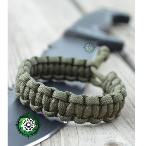 "Paracord polska Bransoleta survivalowa z paracordu regulowana typ ""mad max"" kolor: ""army green""."