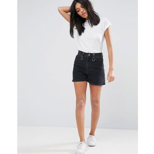 ASOS Denim Mom Shorts in Washed Black with Ring Detail and Raw Waistband - Black
