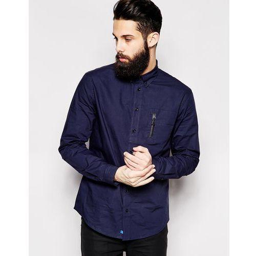 2 x h brothers 2xH Brothers Shirt With Zip Pocket - Blue, niebieska