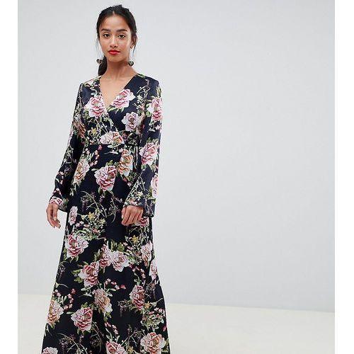 Asos design petite satin wrap maxi dress in navy floral print - multi, Asos petite