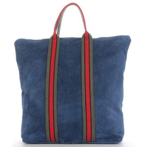 bf28f52e14649 torebki skórzane w modne paski firmowy shopper made in italy z funkcją  plecaczka w kolorze jeansowym (kolory) marki Vittoria gotti 235,00 zł  Stylowa i ...