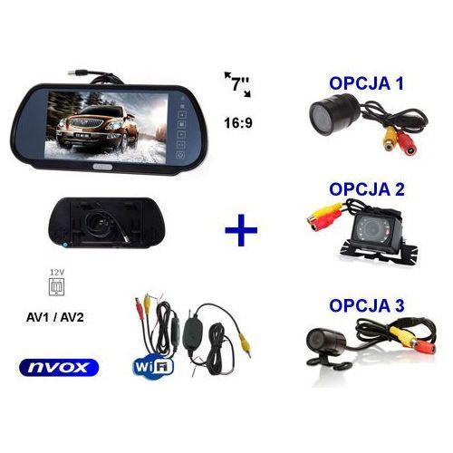 """Zestaw monitor lcd 7"""" w lusterku wstecznym 12v 24v samochodowa kamera cofania i bezprzewodowy moduł wifi marki Nvox"""