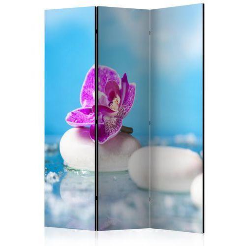 Artgeist Parawan 3-częściowy - różowa orchidea i kamienie zen [room dividers] bogata chata