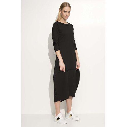 Czarna Sukienka Asymetryczna Bombka Midi z Długim Rękawem, w 3 rozmiarach