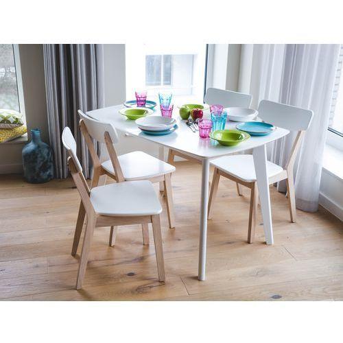 Beliani Stół biały - do kuchni - do jadalni - rozkładany - 120/160 cm - sanford