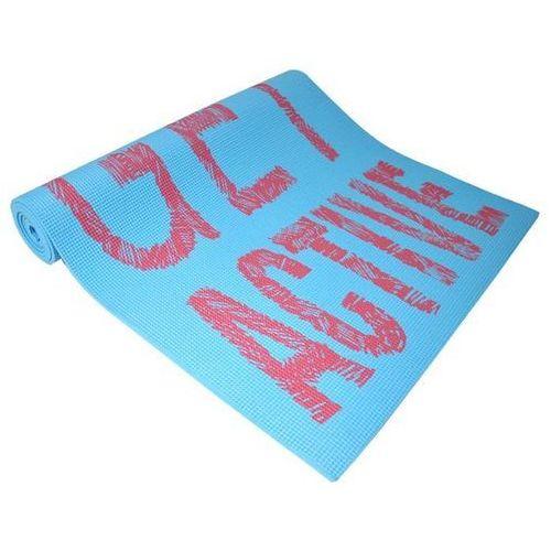 Mata do ćwiczeń fitness jogi axer blue napisy 0,6 cm - niebieski marki Axer sport