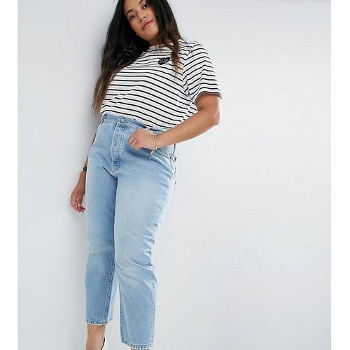 ASOS CURVE FLORENCE Authentic Straight Leg Jeans in Cambridge Light Mid Wash - Blue, jeans