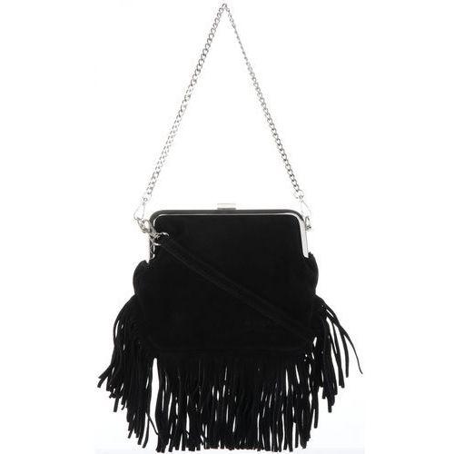 7e0ff87134dc1 Vittoria gotti torebka skórzana listonoszka w stylu boho z łańcuszkiem i  dł. paskiem czarna (kolory) 126