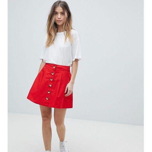 Asos design petite cotton mini skater skirt with button front - red marki Asos petite