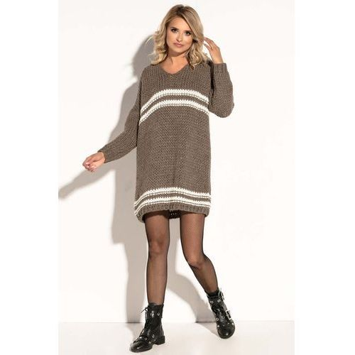 9a32c5cad4 Fobya Mocca luźna wełniana sukienka z kontrastowymi paskami 159