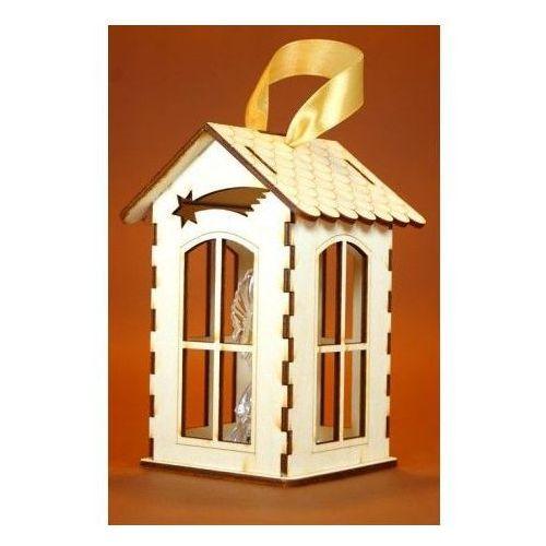 Lampion - drewniany z Aniołkiem w środku