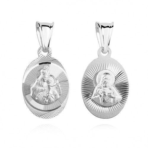 Srebrny medalik jezus / matka boska szkaplerzna marki Produkt polski