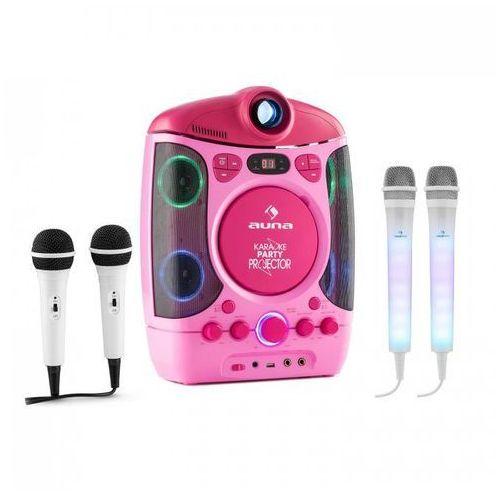 Kara projectura zestaw do karaoke różowy + kara dazzl zestaw mikrofonów led marki Auna