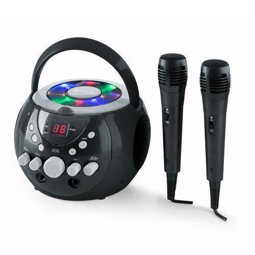 singsing przenośny zestaw karaoke led zasilanie bateryjne 2 x mikrofon marki Auna