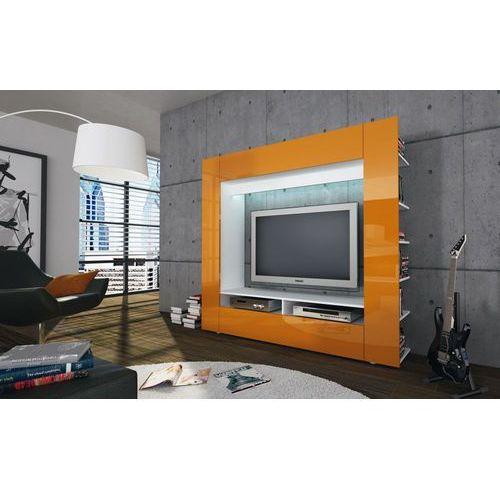 OLAF żółta meblościanka RTV wysoki połysk - pomarańczowy ze sklepu Meble Pumo