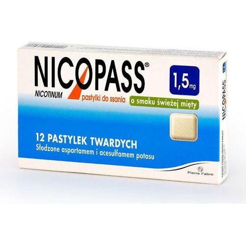 Pierre fabre Nicopass 1,5mg x 12 pastylek do ssania o smaku świeżej mięty