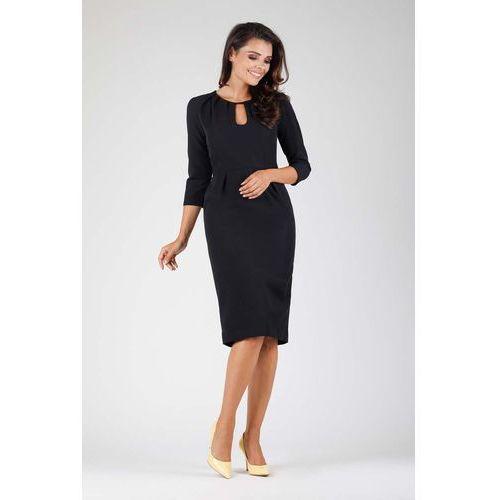 a4306b0e57 Nommo Czarna wizytowa dopasowana sukienka z dekoracyjnym dekoltem 134