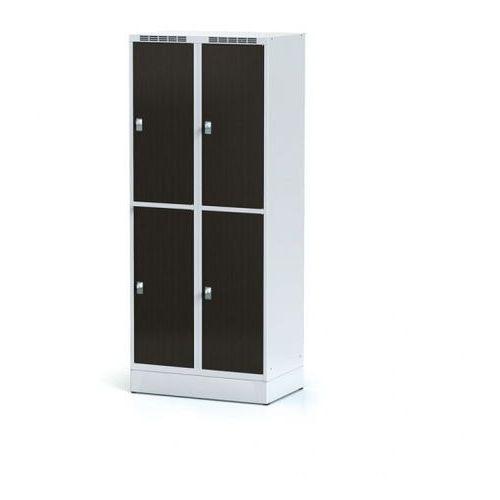 Szafka ubraniowa 4 drzwi 400 mm na cokole, drzwi lpw, wenge, zamek cylindryczny marki Alfa 3