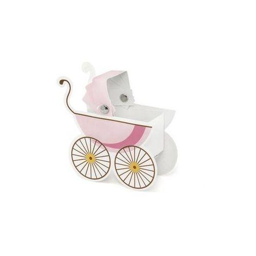 Pudełeczka dla gości wózeczek różowy - 10 szt.
