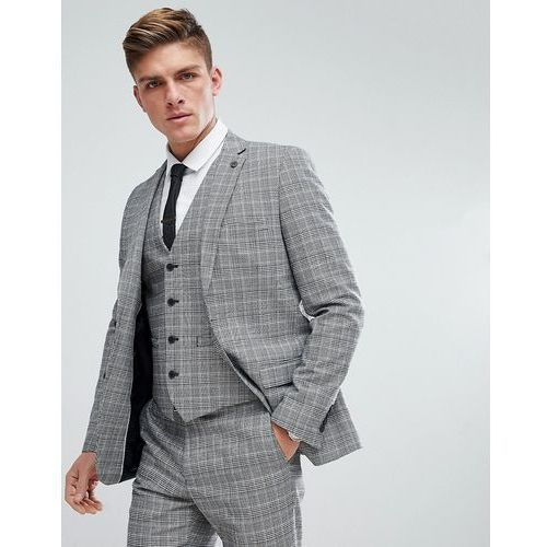 prince of wales blue check slim fit suit jacket - grey marki French connection