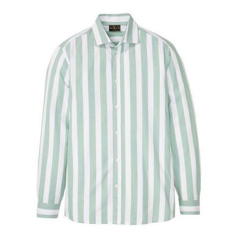 Koszula w paski, długi rękaw bonprix zielony szałwiowy - biały w pionowe paski